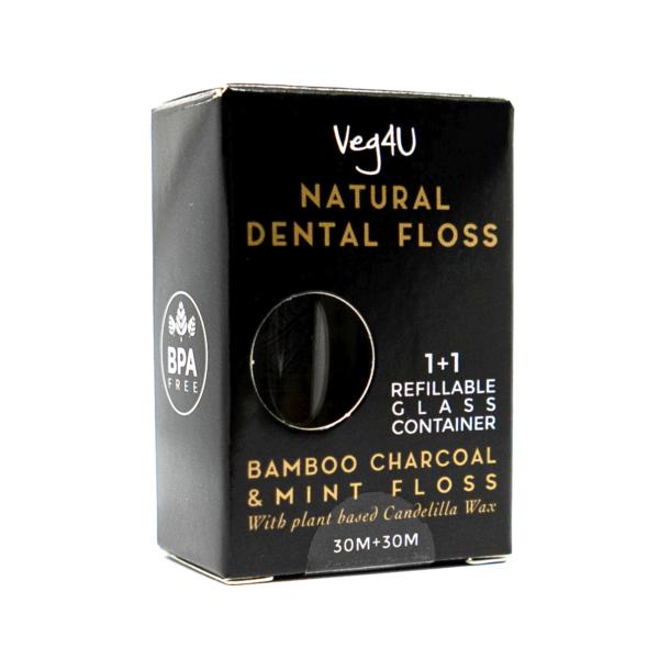 Bambuko anglies ir mėtų natūralus dantų siūlas su keičiamu papildymu