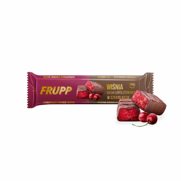 Šokoladu dengtas liofilizuotų vyšnių batonėlis